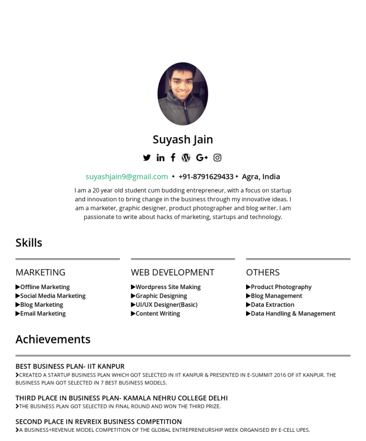 suyash jain – CakeResume Featured Resumes