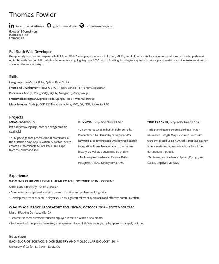 Thomas Fowler – CakeResume Featured Resumes