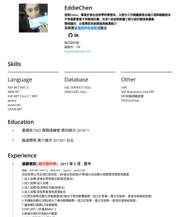 程式設計師 Resume Samples - 體 群主 程式樂活人 Blog 程式設計師 基隆市,TW bda605@gmail.com Skills Language ASP.NET MVC 5 WEB API ASP.NET Core 2.1 MVC Jquery javascript C#/VB.NET Database SQL SERVER (T-SQL) ORACLE(PL-SQL) Other...