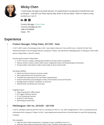 Product Manager, 產品經理,UIUX設計師,UIUX Designer Resume Samples - for e-commerce service across multiple devices and screen sizes. Define web/mweb/app UI layout and UX framework. Creating wireframes and prototypes. Software skills: Sketch, Prott, Zeplin. Portfolio CareMyPet: https://goo.gl/jf4k2h Alley: https://goo.gl/zNUeeN friDay Shopping: https://goo.gl/Xya9E2 friDay ShoppingPlus: https://goo.gl...