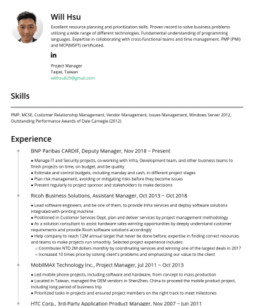 Project Manager Resume Samples - with printing machine ● Positioned in Customer Services Dept, plan and deliver services by project management methodology ● As a solution consultant to assist hardware sales winning opportunities by deeply understand customer requirements and provide Ricoh software solutions accordingly ● Help company to reach 12M annual target that never be...