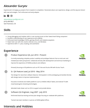 Alexander Guryev's resume - Alexander Guryev Experienced in bringing up projects from inception to completion. Passionate about user experience, design, and the way we interac...