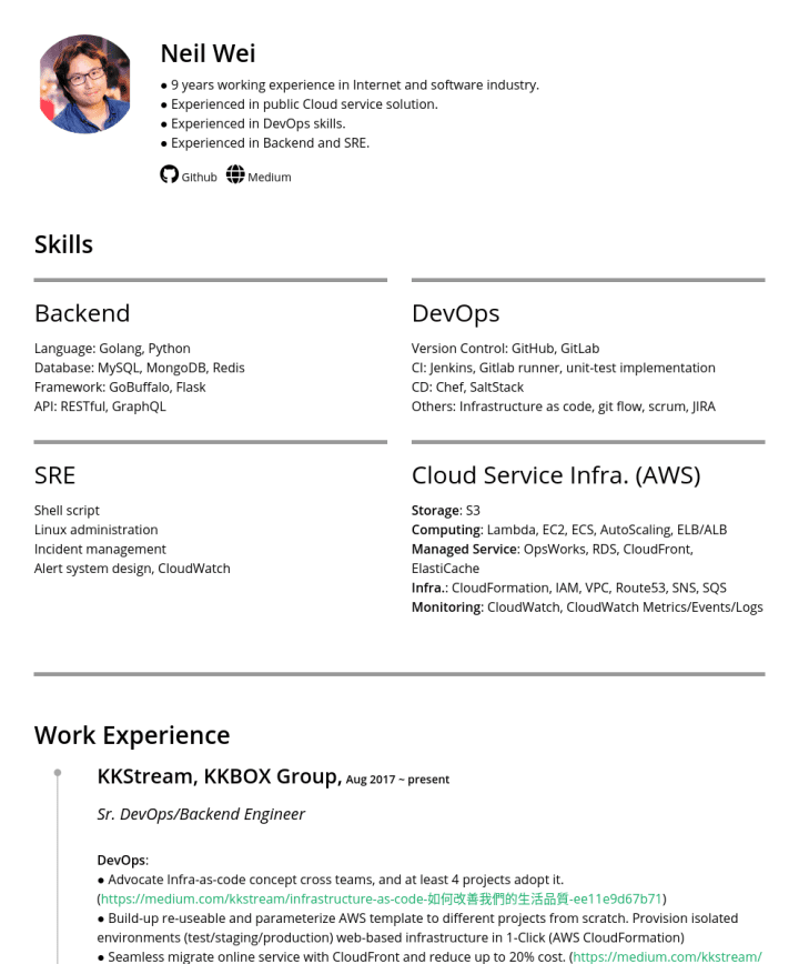 Neil Wei – CakeResume Featured Resumes