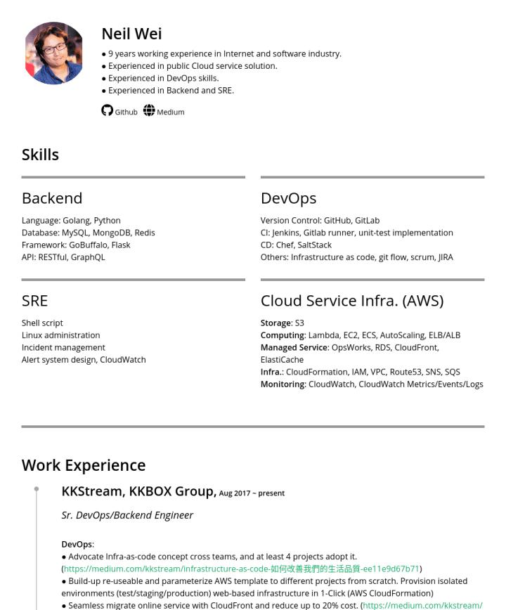 AWS Lambda Resume Samples – CakeResume