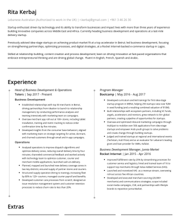 Resume Examples - Rita Kerbaj Lebanese Australian (Authorized to work in the UK) | r.kerbaj@gmail.com |Startup enthusiast driven by technology and its ability to tra...