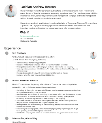 Resume Samples - Lachlan Andrew Beaton I have over eight years of experience in public affairs, communications and public relations and over a decade of financial s...