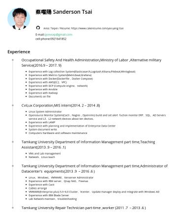 YAO YANG TSAI's CakeResume - 蔡曜陽 Sanderson Tsai Area: Taipei / Resume: https://www.cakeresume.com/yao-yang-tsai E-mail: qoovsxp@gmail.com cell-phone:Experience Occupational Saf...