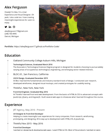 Alex's CakeResume - Alex Ferguson Howdy! I'm Alex. I'm a User Experience and Visual Designer. Oh yeah, I also code too. I love creating meaningful experiences for user...