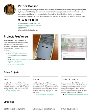 Resume Examples - Patrick Dobson Web developer with eight years of full stack intimacy. At home in a Linux shell. Enjoys working with Python, Java and Node.js. Exper...