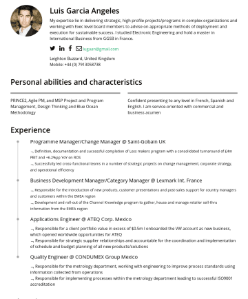 Program Manager, Project manager, Business Improvement Manager, Business Change Resume Samples - Luis Garcia Angeles My expertise lie in delivering strategic, high profile projects/programs in complex organizations and working with Exec level b...