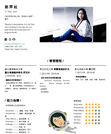 "郭羿廷's CakeResume - 郭 羿 廷 YI TING KUO ""這世界並不缺少美,而是缺少發現"" -- 羅丹 ""Beauty is everywhere. It is not that she is lacking to our eye, but our eyes which fail to perceive her...."