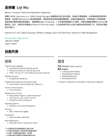軟體研發工程師 / 後端工程師 Resume Samples - English : Listening (Intermediate) Speaking (Intermediate) Reading (Advanced) Writing (Advanced) * Proficient / Advanced / Intermediate / Elementary / Beginner 工作經歷 任職 COMPAL Electronics, Inc., Design Manager Software Research & Development Headquarter (SWHQ) Network Intelligence Division (NID) 軟體研發本部 網路智能處 課長級設計...