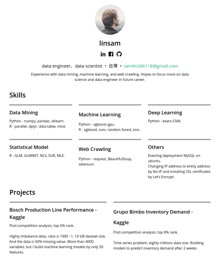 linsam – CakeResume Featured Resumes