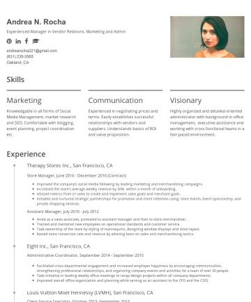 Andrea Rocha's CakeResume - Andrea N. Rocha Experienced Manager in Vendor Relations, Marketing and Admin andrearocha221@gmail.com (831) 235-3565 Oakland, CA Skills Marketing K...