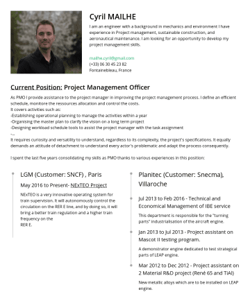 Resume Samples - Cyril MAILHE I am an engineer with a background in mechanics and environment I have experience in Project management, sustainable construction, and...