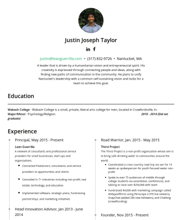 Resume Samples - SAAS, Hubspot, Saleforce IQ Strengths Visioning, Strategy, Project Planning, Technical Ideation/Innovation, Brainstorming, Pattern Recognition, System Mapping, Market Analytics, Marketing, Fundraising, Partnerships Interests/Study Entrepreneurship, Technology, Transformative Technology, Education, Community Building, Integral Theory, Action Inquiry, Consciousness, AI, Self-Actualization, Human Design Testimonials Justin is versatile and articulate, with an exceptional...