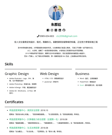 前端工程師 Resume Samples - 後開始自學程式語言。 Skills Graphic Design Adobe Illustrator - Logo、DM、海報、名片等識別設計 Adobe Photoshop - 影像合成、精修等 Adobe InDesign - 手冊、雜誌編排設計 Adobe XD - Wireframe、UI Flow(學...