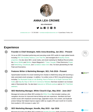 Resume Samples - ANNA LEA CROWE DIRECTOR OF SEO annaleacrowe.com • annaleacrowe@annaleacrowe.com • Palm Harbor, Florida, USA Experience Founder & Chief Strategist, ...