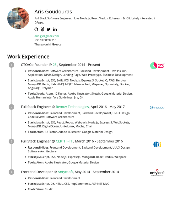 Aris Goudouras Cakeresume Featured Resumes