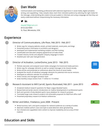 Resume Examples - Dan Wade I am an experienced communications and marketing professional with a strong track record of helping great ideas take root through the use ...