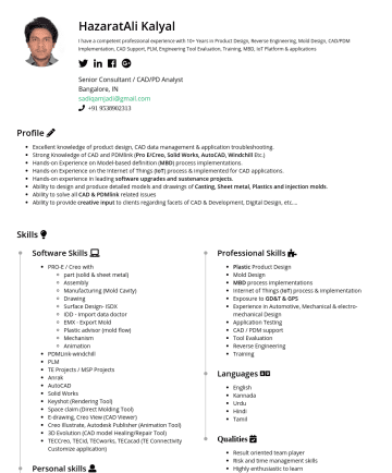 Senior Consultant / CAD/PD Analyst   Resume Examples - HazaratAli Kalyal I have a competent professional experience with around 12 Years in CAD Support, CAD/PDM Implementation,PLM, Engineering Tool Eval...