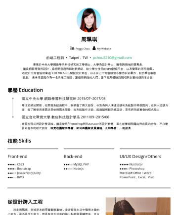 前端工程師,UIUX設計師 Resume Examples - 周珮琪 PeggyChou 前端工程師 • UIUX設計 Taipei,TW • pchou3210@gmail.com 畢業於中央大學網路學系科技研究所工學碩士,大學為設計學士,擁有跨領域的雙專長。 擅長網頁開發與設計,曾經開發過教師社群網站、給小學生使用的植物觀察平台、以及簡單的天秤遊戲,...