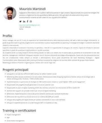 Maurizio Martinoli's CakeResume - Maurizio Martinoli Ingegnere informatico con il pallino dell'innovazione in ogni ambito. Appassionato di nuove tecnologie che aiutano a migliorare ...