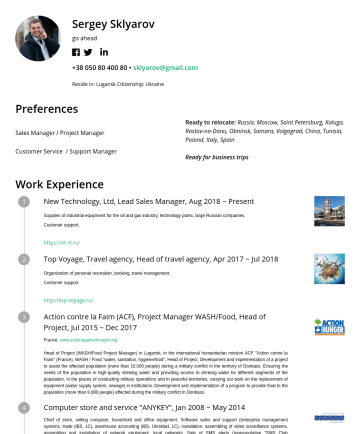 Customer Service / Support Manager Resume Samples - May 2019 Supplies of industrial equipment for the oil and gas industry, technology parks, large Russian companies. Customer support. https://nt-rt.ru/ Top Voyage, Travel agency, Head of travel agency, Apr 2017 ~ Jul 2018 Organization of personal recreation, booking, travel management. Customer support. http://top-voyage.ru/ Action contre...