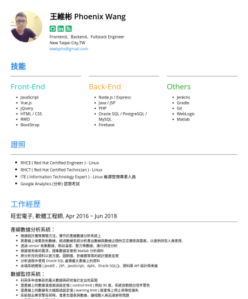 Backend、Frontend、Fullstack Engineer Resume Examples - 王維彬 Phoenix Wang Frontend、Backend、Fullstack Engineer New Taipei City,TW wwbphx@gmail.com 技能 Front-End JavaScript Vue.js jQuery HTML / CSS RWD BootS...