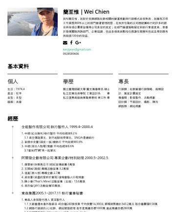 網路行銷主管 Resume Examples - 簡至惟|Wei Chien 我叫簡至惟,我對於各類網路社群相關的營運規劃與行銷模式非常熟悉,我擁有25年工作資歷與10年以上的部門營運管理經歷,在我所任職的公司裡統籌執行的許多的節目與各項企畫案皆獲得公司長官的肯定;從部門營運策略擬定到執行掌握度高,並善於發揮團隊與跨部門、企業協調,完成各項高...