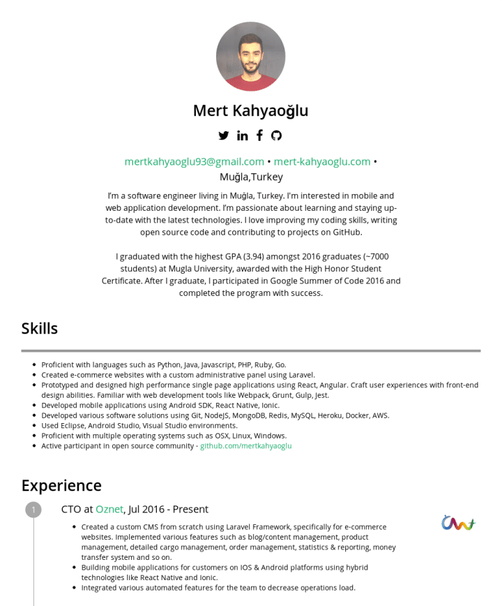 Mert Kahyaoğlu – CakeResume Featured Resumes
