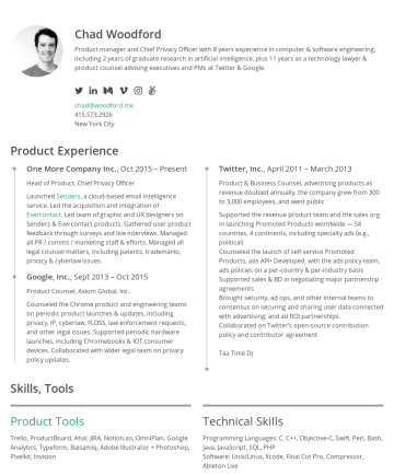 Chad's CakeResume - Chad Woodford Product manager and Chief Privacy Officer with 8 years experience in computer & software engineering, including 2 years of graduate r...