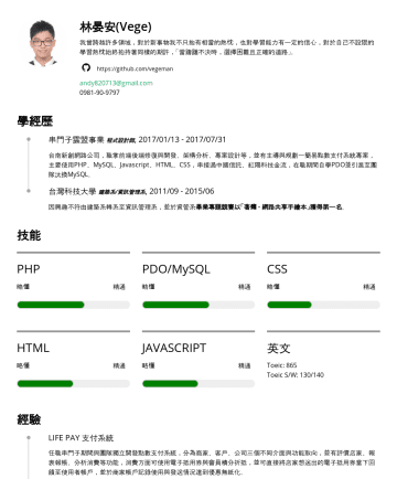 JS後端工程師、ML/AI實習工程師 简历范本 - 林晏安 Vege https://github.com/vegeman andy820713@gmail.comJob & Degree Parexel Site Intelligence Analyst , 2018/07 - Current Clean and maintain medic...