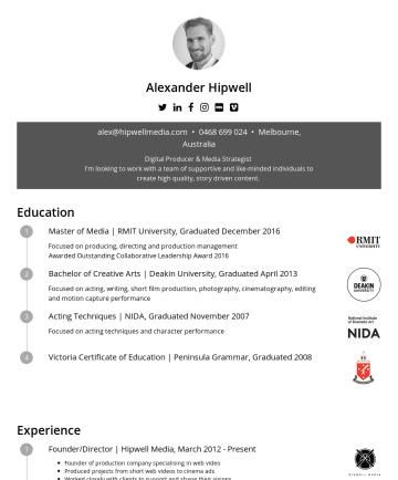 Alexander Hipwell's CakeResume - Alexander Hipwell EXTENDED VERSION: www.alexanderhipwell.com  alex@hipwellmedia.com •Digital Producer / Strategist Producer of creative & corporat...
