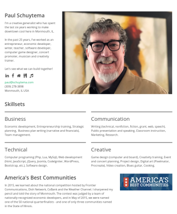 Paul Schuytema's CakeResume - Paul Schuytema I'm a creative generalist who has spent the last six years working to make downtown cool here in Monmouth, IL. In the past 25 years,...