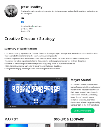 Jesse Brodkey's CakeResume - Jesse Brodkey A rational creative strategist championing both measured and verifiable solutions and outcomes for Enterprise. jessebrodkey@gmail.com...