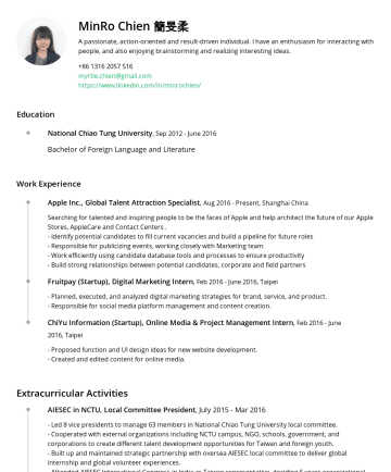 Resume Samples - my leisure time, I'm eager to learn diverse skills and explore different experiences. I love backpack traveling, literature and baking so much. I use digital micro single camera to record the world. I workout. Also, if you're interested in astrology, I could analyze the natal chart for you!...