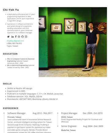 Chi-Yeh Yu's CakeResume - Chi-Yeh Yu A dedicated professional with 5+ years programming experience in Web applications and 6+ years experience in algorithm design. Specializ...