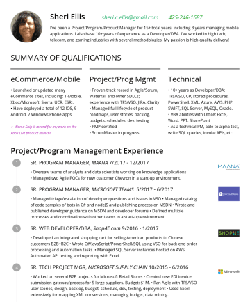 Sr. Technical Program Manager Resume Samples - Phone apps ➢ Won a Ship-It award for my work on the Xbox Live product launch! Project/Prog Mgmt • Proven track record in Agile/Scrum, Waterfall and other SDLCs; experience with TFS/VSO, JIRA, Clarity • Managed full lifecycle of product roadmaps, user stories, backlog, budgets, schedules, dev, testing • PMP...