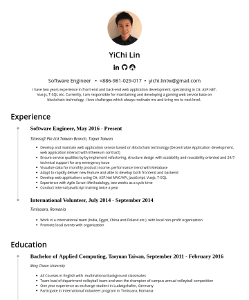 Software Engineer  Resume Examples - YiChi Lin(林依錡) Data Engineer & Analyst • yichi.lintw @gmail.com Experience Data Engineer & Analyst, NovemberPresent Zeppelin Lab GmbH, Berlin Germa...