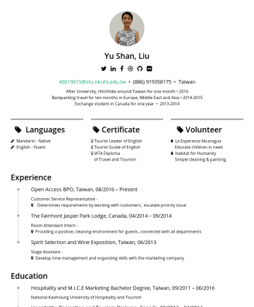 "Resume Samples - students to attend our graduation event as a general coordinator in 2016 Hospitality, Recreation and Tourism Diploma 09/2013 – 04/2014 Humber College Institute of Technology and Advanced Learning, Canada Organized "" Taiwanese Culture Event "" with 20 Taiwanese students and 50 foreign students celebrated with us Summer internship in Fairmont Jasper..."