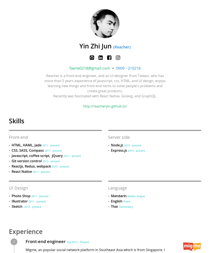 Zhijun Yin Cakeresume Featured Resumes