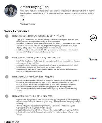 Data Scientist Resume Samples - to analyze large unstructured datasets with Latent Dirichlet Allocation (LDA), text classification and sentiment analysis Created training materials for the client about Machine Learning models, Natural Language Processing and Recommender System Data Analyst, Move Inc, JanAug 2016 Improved the accessibility of multi-sourced data across the team by designing and...