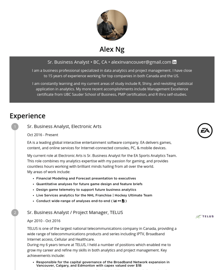 Alex Ng Cakeresume Featured Resumes