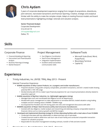 Private Equity Associate  Resume Samples - Chris Aydam 5 years of corporate development experience ranging from mergers & acquisitions, divestitures, joint ventures, real estate transactions...