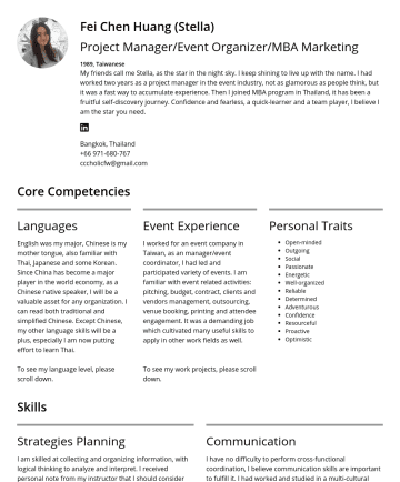 Event Organizer  Resume Samples - Fei Chen Huang (Stella) Project Manager/Event Organizer/MBA Marketing 1989, Taiwanese My friends call me Stella, as the star in the night sky. I ke...