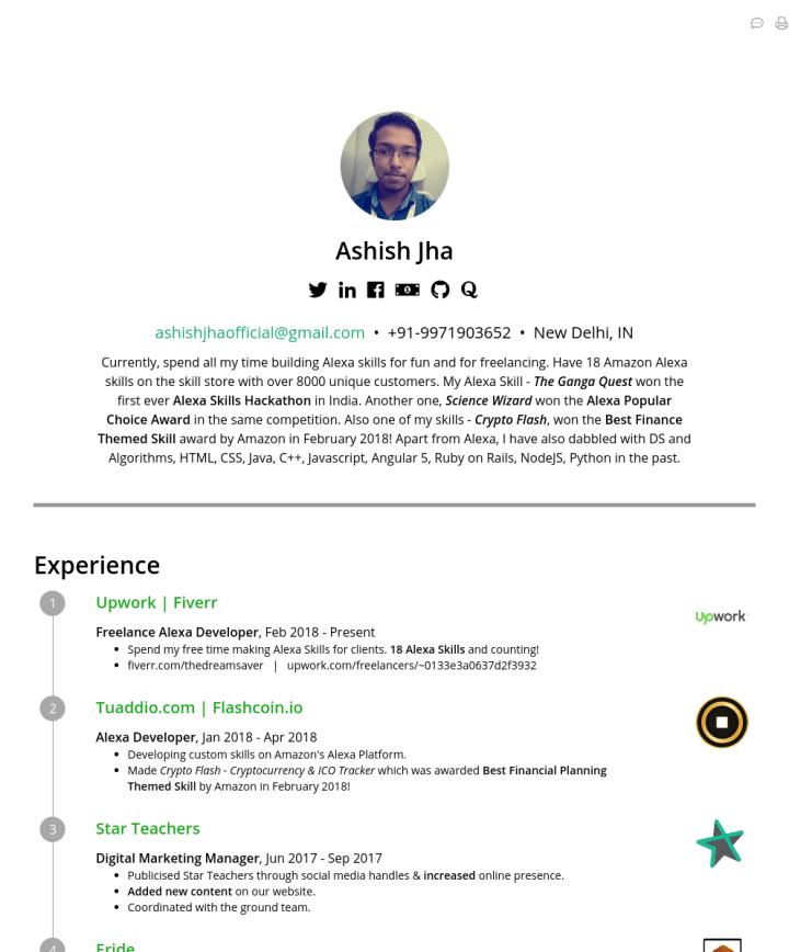 Ashish Jha Cakeresume Featured Resumes