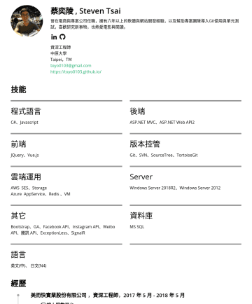 資深工程師 Resume Samples - Core、ASP.NET MVC、ASP.NET Web API2 前端 JQuery、Vue.js 版本控管 Git、SVN、SourceTree、TortoiseGit 雲端運用 AWS 相關: S3、EC2、SQS、CloudWatch ...等 Azure 相關: AppService、Redis Server Windows Server 2018R2、Windows Server 2012 其它 RabbitMQ、Consul、Docker...