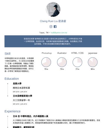 攝影助理 Resume Samples - 2014 Experience 日本 杏 中華料理店,內外場服務人員 大三時期在日本的工讀工作。從工作經驗中了解到日本人做事細心積極的態度...