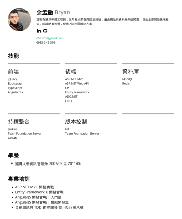 Senior Software Engineer / Team Lead Resume Samples - 術相談室 e-mail:d58526@gmail.com技能 前端 jQuery Bootstrap TypeScript 後端 ASP.NET MVC ASP.NET Web API C# Entity Framework ADO.NET LINQ 資料庫 MS-SQL Redis 持續整合 Jenkins Team Foundation Server GitLab 版本控...